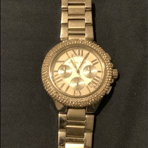 Silver tone Michael Kors watch with rhinestones